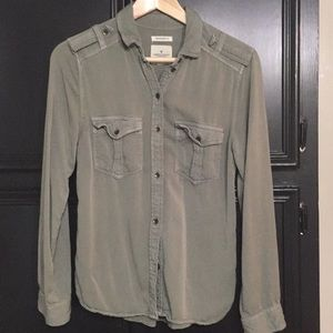 American Eagle Army Green Boyfriend Shirt